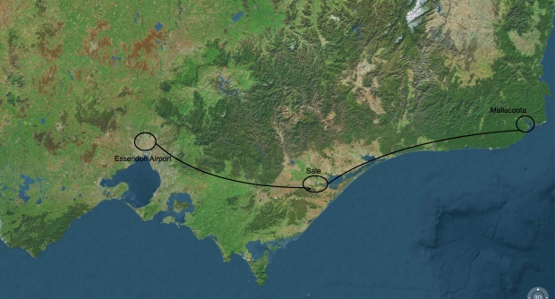 jpeg Satelite Screen shot of Melb to Mallacoota